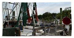 Southport Pier Fishing Boats Beach Towel