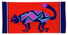 Beach Towel featuring the digital art Southwest Mimbres Feline by Vagabond Folk Art - Virginia Vivier
