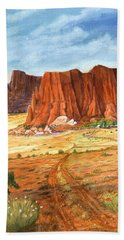 Beach Towel featuring the painting Southwest Red Rock Ranch by Marilyn Smith