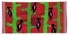 Beach Towel featuring the digital art Southwest Saguaro Birds by Vagabond Folk Art - Virginia Vivier