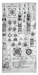 Soviet Rocket Schematics Beach Towel by Taylan Apukovska