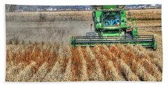 Soybean Harvest Fremont County Iowa Beach Towel