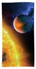 Beach Towel featuring the photograph Space Image Extrasolar Planet Yellow Orange Blue by Matthias Hauser