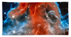 Space Image Horsehead Nebula Orange Red Blue Black Beach Towel