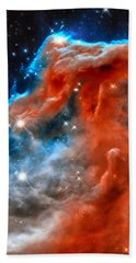 Beach Towel featuring the photograph Space Image Horsehead Nebula Orange Red Blue Black by Matthias Hauser