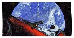 Space Meeting At Tesla Beach Towel