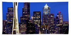 Space Needle At Night  Beach Towel