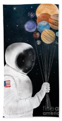 Space Party Beach Towel