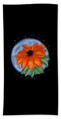 Beach Towel featuring the painting Space Zinnia On Black by Jean Pacheco Ravinski