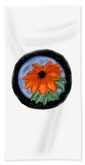 Beach Towel featuring the painting Space Zinnia by Jean Pacheco Ravinski
