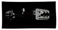 Spaceship Uss Cumberland Traveling Through Deep Space Beach Towel