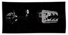 Spaceship Uss Cumberland Traveling Through Deep Space Beach Towel by David Robinson