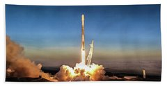 Spacex Iridium-5 Mission Falcon 9 Rocket Launch Beach Towel