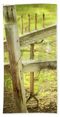Spading Fork On Chicken Wire Fence Beach Towel