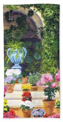 Spanish Courtyard Beach Towel by Lynne Reichhart