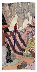 Spanish Lady In Hammock With Parrot Beach Towel by Georges Barbier