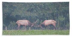 Sparking Elk On A Foggy Morning - 1957 Beach Towel