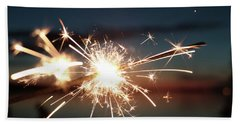 Sparklers After Sunset Beach Towel