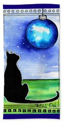 Sparkling Blue Bauble - Christmas Cat Beach Towel
