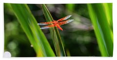Sparkling Red Dragonfly Beach Towel