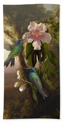 Sparkling Violetear Hummingbirds And Trumpet Flower Beach Sheet