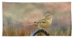 Sparrow In The Grass Beach Towel