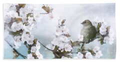 Beach Towel featuring the mixed media Sparrow On Cherry Branch by Shanina Conway