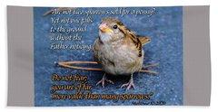 Sparrow Scripture Matthew 10 Beach Towel