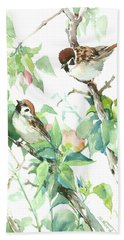 Sparrows And Apple Blossom Beach Sheet by Suren Nersisyan