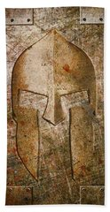 Spartan Helmet On Metal Sheet With Copper Hue Beach Towel