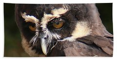 Beach Towel featuring the photograph Spectacled Owl Portrait 2 by William Selander