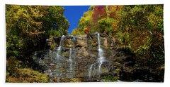Spectacular Fall Color At Amicalola Falls Beach Sheet by Barbara Bowen