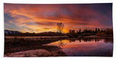 Spectacular Sunset On The River Beach Towel
