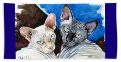 Sphynx Love - Cat Painting Beach Towel
