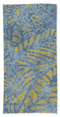 Beach Towel featuring the digital art Spicy Mustard Fossil Leaves by Karen Dyson