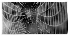 Spider In A Dew Covered Web - Black And White Beach Towel
