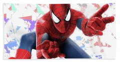 Beach Towel featuring the mixed media Spider Man Splash Super Hero Series by Movie Poster Prints