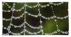 Spider Web Decorated By Morning Fog Beach Towel