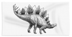 Stegosaurus - Dinosaur Decor - Black And White Dino Drawing Beach Towel