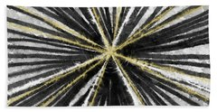 Spinning Black And Gold- Art By Linda Woods Beach Towel