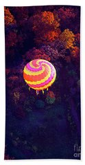 Spiral Colored Hot Air Balloon Over Fall Tree Tops Mchenry   Beach Sheet by Tom Jelen