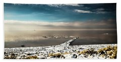 Beach Towel featuring the photograph Spiral Jetty In Winter by Bryan Carter