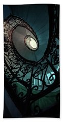 Beach Towel featuring the photograph Spiral Ornamented Staircase In Blue And Green Tones by Jaroslaw Blaminsky