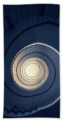 Beach Towel featuring the photograph Spiral Staircase In Blue And Cream Tones by Jaroslaw Blaminsky