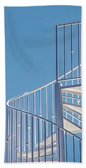 Spiral Staircase On Blue Sky Beach Sheet