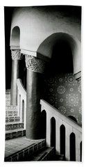 Spiral Stairs- Black And White Photo By Linda Woods Beach Towel