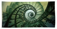 Beach Towel featuring the photograph Spiral Stairs In Green Tones by Jaroslaw Blaminsky