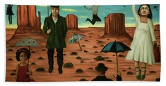 Spirits Of The Flying Umbrellas 3  Beach Towel by Leah Saulnier The Painting Maniac