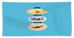 Beach Sheet featuring the painting Spitfire Mosquito Lancaster Aircraft With Name Banners by Bill Holkham