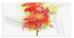 Beach Towel featuring the painting Splash Of Autumn Watercolor Tree by Irina Sztukowski